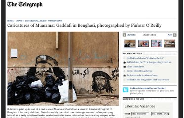 http://www.telegraph.co.uk/news/picturegalleries/worldnews/8386348/Caricatures-of-Muammar-Gaddafi-in-Benghazi-photographed-by-Finbarr-OReilly.html