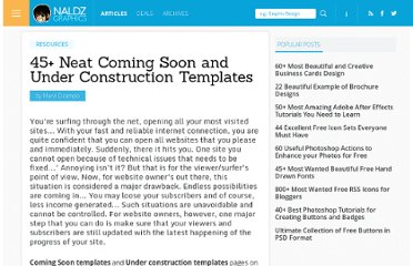 http://naldzgraphics.net/resources/45-neat-coming-soon-and-under-construction-templates/