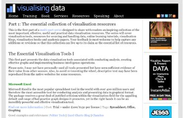 http://www.visualisingdata.com/index.php/2011/03/part-1-the-essential-collection-of-visualisation-resources/
