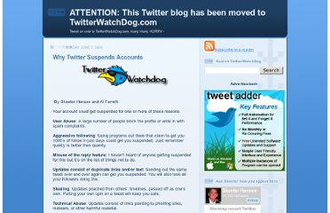 http://twittersecrets.blogspot.com/2009/06/why-twitter-suspends-accounts.html