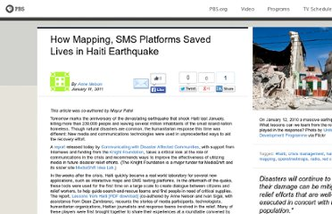 http://www.pbs.org/mediashift/2011/01/how-mapping-sms-platforms-saved-lives-in-haiti-earthquake011.html