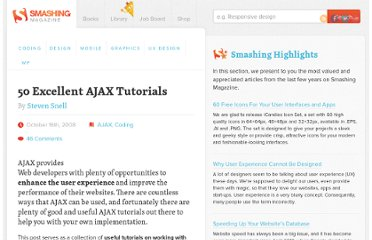 http://www.smashingmagazine.com/2008/10/16/50-excellent-ajax-tutorials/