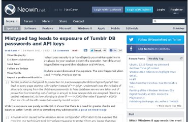 http://www.neowin.net/news/mistyped-tag-leads-to-exposure-of-tumblr-db-passwords-and-api-keys