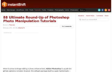 http://www.instantshift.com/2010/02/27/88-ultimate-round-up-of-photoshop-photo-manipulation-tutorials/