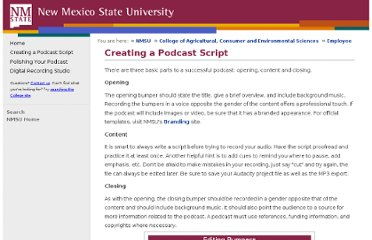 http://aces.nmsu.edu/employee/podcasting/parts-of-a-podcast.html