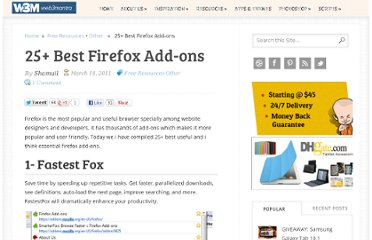 http://www.web3mantra.com/2011/03/14/25-best-firefox-add-ons/