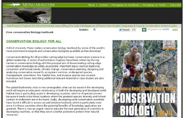 http://www.mongabay.com/conservation-biology-for-all.html