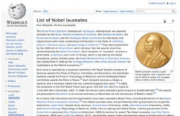 http://en.wikipedia.org/wiki/List_of_Nobel_laureates