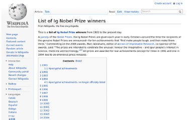 http://en.wikipedia.org/wiki/List_of_Ig_Nobel_Prize_winners