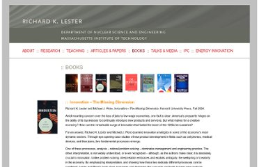 http://web.mit.edu/nse/lester/books/innovation.html