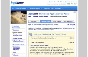 http://www.legalzoom.com/provisional-patents/provisional-patents-pricing.html