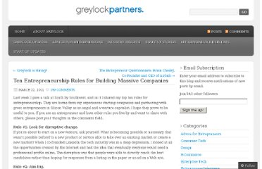 http://greylockvc.com/2011/03/22/ten-entrepreneurship-rules-for-building-massive-companies/