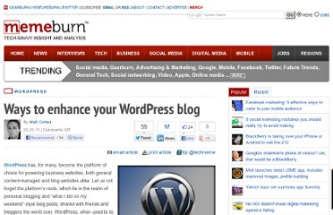 http://memeburn.com/2011/03/enhance-your-wordpress-blog/