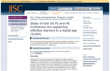 http://www.jisc.ac.uk/whatwedo/programmes/elearning/slida.aspx