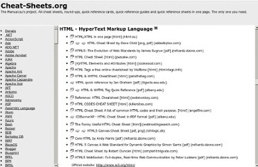 http://www.cheat-sheets.org/#HTML
