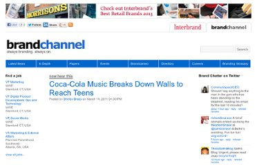 http://www.brandchannel.com/home/post/2011/03/14/Coca-Cola-Music-Breaks-Down-Walls-to-Reach-Teens.aspx