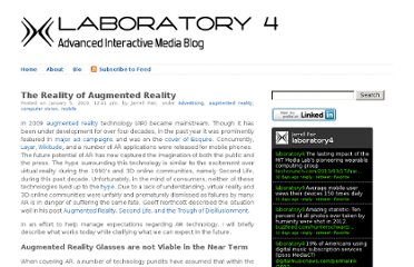 http://www.laboratory4.com/2010/01/the-reality-of-augmented-reality/