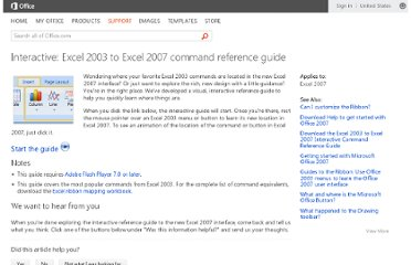 http://office.microsoft.com/en-us/excel-help/interactive-excel-2003-to-excel-2007-command-reference-guide-HA010149151.aspx