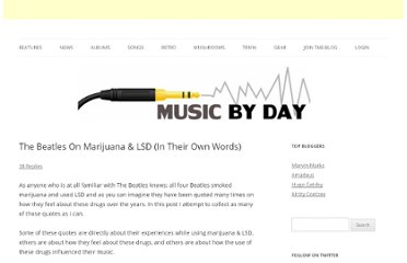 http://www.musicbyday.com/the-beatles-on-marijuana-lsd-in-their-own-words/585/
