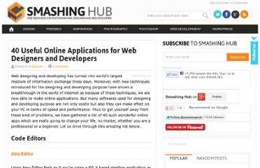 http://smashinghub.com/40-useful-online-applications-for-web-designers-and-developers.htm