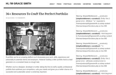 http://www.gracesmith.co.uk/36-resources-to-craft-the-perfect-portfolio/