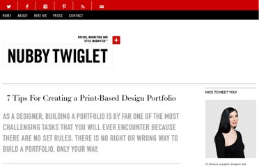 http://nubbytwiglet.com/2009/07/27/7-tips-for-creating-a-print-based-design-portfolio/