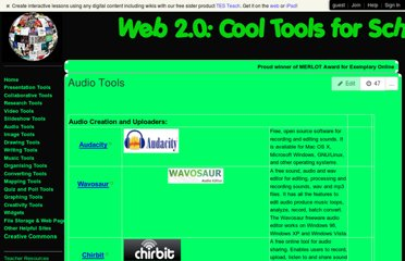 http://cooltoolsforschools.wikispaces.com/Audio+Tools