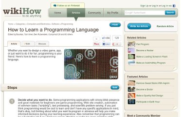 http://www.wikihow.com/Learn-a-Programming-Language