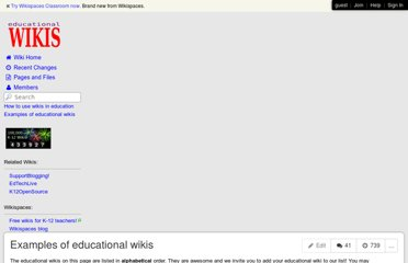http://educationalwikis.wikispaces.com/Examples+of+educational+wikis