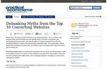 http://www.practicalecommerce.com/articles/2097-Debunking-Myths-from-the-Top-10-Converting-Websites
