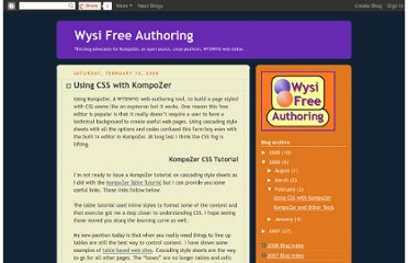http://wysifreeauthoring.blogspot.com/2008/02/using-css-with-kompozer.html