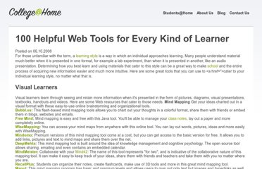 http://www.collegeathome.com/blog/2008/06/10/100-helpful-web-tools-for-every-kind-of-learner/