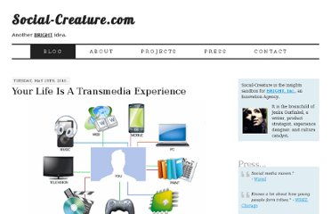 http://social-creature.com/your-life-is-a-transmedia-experience