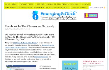 http://www.emergingedtech.com/2011/03/facebook-in-the-classroom-seriously/
