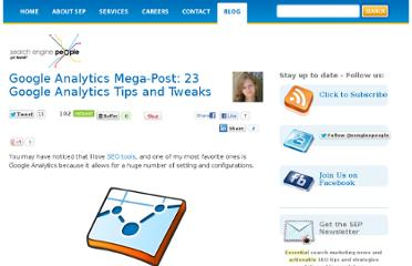 http://www.searchenginepeople.com/blog/google-analytics-mega-post-23-google-analytics-tips-and-tweaks.html