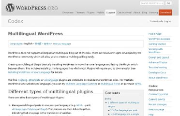 http://codex.wordpress.org/Multilingual_WordPress