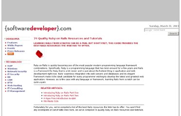 http://www.softwaredeveloper.com/features/74-ruby-on-rails-resources-tutorials-050207/