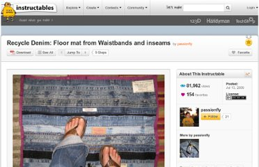 http://www.instructables.com/id/Recycle-Denim-Floor-mat-from-Waistbands-and-insea/