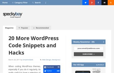 http://speckyboy.com/2011/03/28/20-more-wordpress-code-snippets-and-hacks/