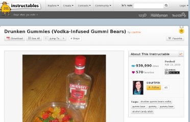 http://www.instructables.com/id/Drunken-Gummies-Vodka-Infused-Gummi-Bears/#step1