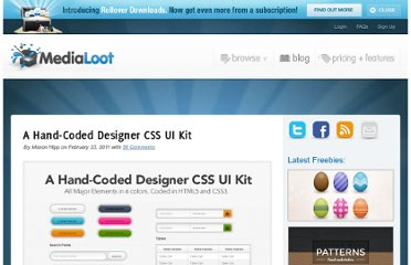 http://medialoot.com/blog/a-hand-coded-designer-css-ui-kit/