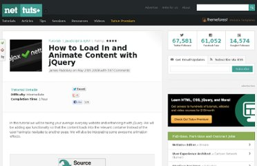 http://net.tutsplus.com/tutorials/javascript-ajax/how-to-load-in-and-animate-content-with-jquery/