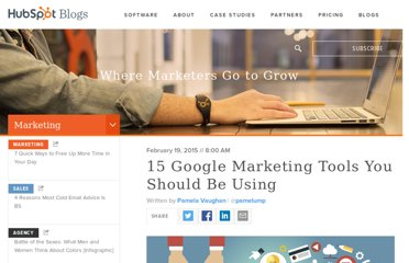 http://blog.hubspot.com/blog/tabid/6307/bid/11249/16-Google-Tools-to-Improve-Marketing-Effectiveness.aspx