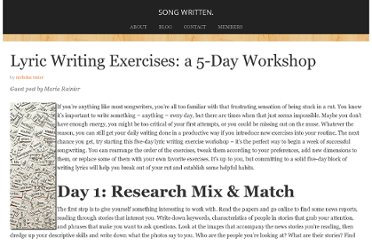http://nicholastozier.com/words/lyric-writing-exercises-a-5-day-workshop/
