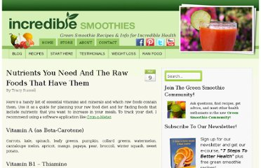 http://www.incrediblesmoothies.com/raw-food-diet/raw-nutrition/nutrients-you-need-and-the-raw-foods-that-have-them/