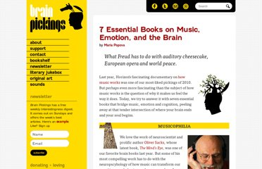 http://www.brainpickings.org/index.php/2011/03/21/must-read-books-music-emotion-brain/