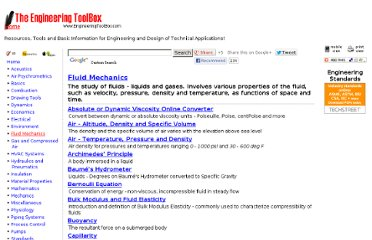 http://www.engineeringtoolbox.com/fluid-mechanics-t_21.html