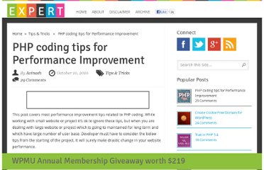 http://www.xpertdeveloper.com/2010/10/php-coding-tips-for-performance-improvement/