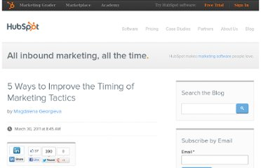 http://blog.hubspot.com/blog/tabid/6307/bid/11334/5-Ways-to-Improve-the-Timing-of-Marketing-Tactics.aspx