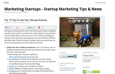 http://marketingstartups.com/2008/12/05/top-10-tips-to-get-your-startup-noticed/